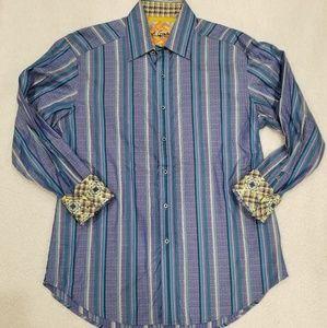 Robert Graham Mens Stripe Shirt French Flip Cuff